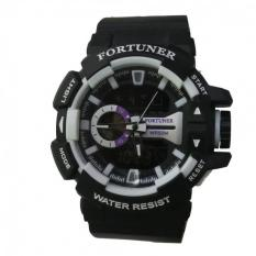 Harga Fortuner Dual Time Jam Tangan Pria Rubber Strap Fr 658 Putih Jawa Barat
