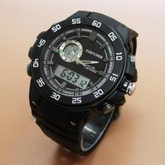 Fortuner Dualtime - Jam Tangan Sport Pria – Rubber Strap - Full Black-FR3187