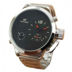 Spek Fortuner Fr655 Dual Time Jam Tangan Pria Stainless Steel Silver Hitam