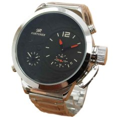 Fortuner FR755B Dual Time Jam Tangan Pria Stainless Steel - Silver Hitam