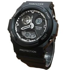 Fortuner J899Hp Dual Time Jam Tangan Pria Rubber Strap Hitam Putih