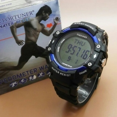 Fortuner Pedometer - Jam Tangan Sport Pria - Rubbe Strap - Fr Pedometer Blue
