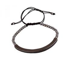 Forziani Daytona Hitam Rhodium Beads Bracelet, Bisa Disesuaikan, Mewah Kotak Hadiah dan Kantong Kulit-hadiah Bagus-Intl