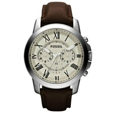 Fossil Chronograph FS4735 Jam Tangan Pria Strap Leather Coklat Silver
