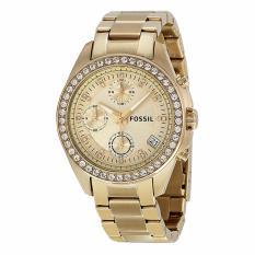 Beli Fossil Es2683 Decker Chronograph Jam Tangan Wanita Bahan Tali Stainless Steel Gold Kristal Pada Bezel Kredit