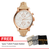 Promo Fossil Es3748 Original Boyfriend Free T Shirt Fossil Addict Jam Tangan Wanita Kulit Beige Indonesia