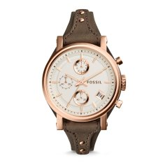 Ulasan Lengkap Fossil Es3818 Jam Tangan Wanita Original Boyfriend Chronograph Gray Leather Watch