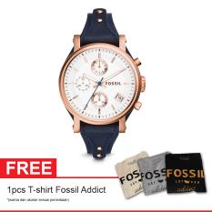 Fossil Es3838 Original Boyfriend Free T Shirt Fossil Addict Jam Tangan Wanita Kulit Navy Blue Fossil Diskon