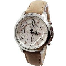 Harga Fossil Es4038 Jam Tangan Wanita Chronograph Fashion Classic Frame Silver Strap Leather Cream Lengkap