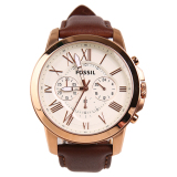 Diskon Fossil Grant Chronograph Leather Men S Watch Brown Cream Akhir Tahun