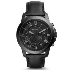Katalog Fossil Jam Tangan Pria Fossil Fs5132 Grant Chronograph Black Leather Watch Terbaru