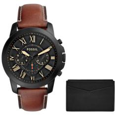 Harga Fossil Jam Tangan Pria Fossil Fs5335 Grant Chronograph Light Brown Leather Watch And Card Case Box Set Asli Fossil