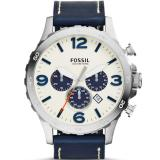 Harga Termurah Fossil Jam Tangan Pria Fossil Jr1480 Nate Chronograph Navy Leather Watch