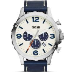 Jual Fossil Jam Tangan Pria Fossil Jr1480 Nate Chronograph Navy Leather Watch Murah Indonesia