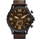 Jual Fossil Jam Tangan Pria Fossil Jr1487 Nate Chronograph Brown Leather Watch Branded Murah