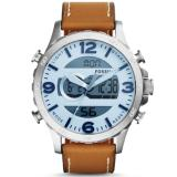 Promo Fossil Jam Tangan Pria Fossil Jr1492 Nate Analog Digital Tan Leather Watch Indonesia