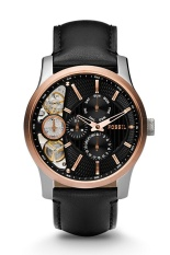 Fossil Jam Tangan Pria ME1099 Twist Rose Gold Black Leather
