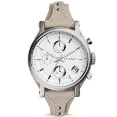 Fossil Jam Tangan Wanita Es3811 Original Boyfriend White Dial Chronograph Leather Ladies Watch Fossil Diskon 30