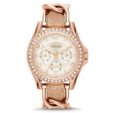 Fossil Jam Tangan Wanita Fossil ES3466 Riley Multi-Function Sand Dial Bone Leather Ladies Watch