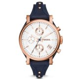 Harga Fossil Jam Tangan Wanita Fossil Es3838 Original Boyfriend Chronograph Navy Leather Watch Terbaru