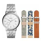 Kualitas Fossil Jam Tangan Wanita Fossil Es3995Set Vintage Muse Stainless Steel Leather Watch Band Box Set Fossil