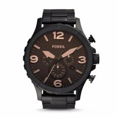 Harga Fossil Nate Chronograph Black Stainless Steel Watch Jr1356 Terbaru
