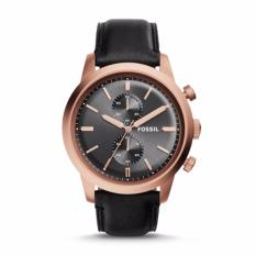 Cara Beli Fossil Townsman Chronograph Black Leather Watch Fs5097