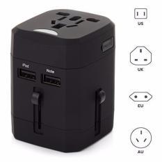 Promo Four U Loop Universal Travel Adapter 4 In 1 Us Uk Eu Au Plug With Usb Port Black Four U Terbaru