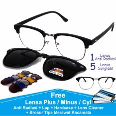 Frame Kacamata Baca Minus Anti Radiasi Komputer Clip On 5 Lensa Warna Sunglass Polaroid Night View 2218