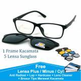 Beli Frame Kacamata Baca Minus Anti Radiasi Komputer Clip On 5 Lensa Warna Sunglass Polaroid Night View 2215 Yang Bagus