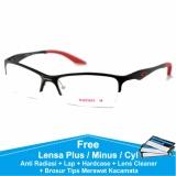 Jual Frame Kacamata Baca Plus Minus Sporty Anti Radiasi Komputer Ducati Half Hitam Merah Oem Online