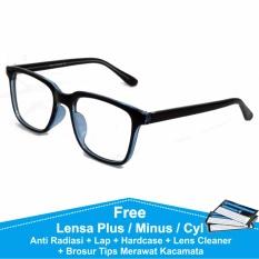 Beli Frame Kacamata Baca Plus Minus Vintage Kotak Anti Radiasi Komputer 75045 Hitam Biru Pakai Kartu Kredit