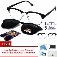 Frame Kacamata Clip On Clubmaster Kotak Gratis 5 Lensa Warna Sunglass Polaroid Night View Bisa Dipasang Lensa Minus Di Optik Terdekat