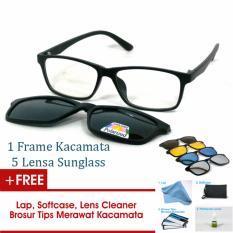 Frame Kacamata Clip On Gratis 5 Lensa Warna Sunglass Polaroid Night View Bisa Dipasang Lensa Minus Di Optik Terdekat
