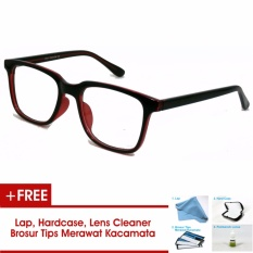 Frame Kacamata Pria Wanita Korea Vintage 75045 Hitam Merah Bisa Dipasang Lensa Minus Di Optik Terdekat