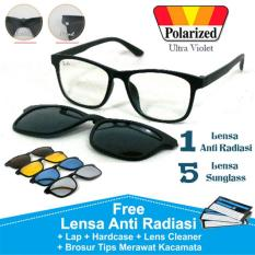 Frame Kacamata RB Korea Minus Clip On 5 Lensa Anti Radiasi Polarized