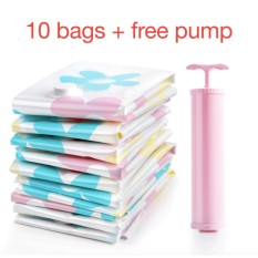 Beli Free Pump 10Pcs Vacuum Compression Bags Set Packing Storage Flower Intl Murah Tiongkok