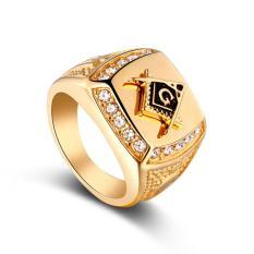 Freemason Cincin CZ Berlian Pria Emas Masonic Perhiasan-Internasional