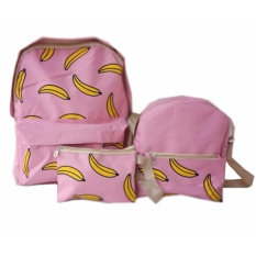 Freeshop Ransel Tas Anak Banana 3 In 1 Kanvas Tas Sekolah Berlibur Bahu Bag Pink S327 Freeshop Diskon 50