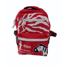 Freeshop Ransel Tas Anak Kanvas Tas Sekolah Berlibur Bahu Bag Red - S319