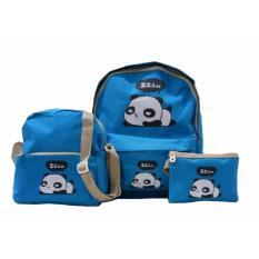 Dapatkan Segera Freeshop Ransel Tas Anak Panda 3 In 1 Kanvas Tas Sekolah Berlibur Bahu Bag Biru S323