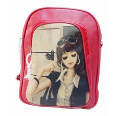 Freeshop Ransel Tas Funny Girl Kanvas Tas Sekolah Berlibur Bahu Bag Red - S302