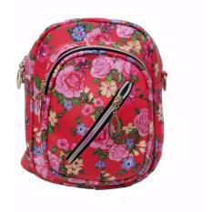 Freeshop Ransel Tas Small Flower Kanvas Pencetakan Tas Sekolah Berlibur Bahu Bag Red - S306