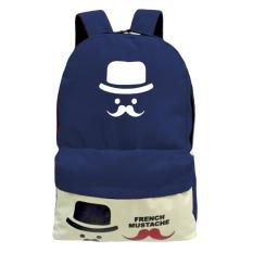 Beli French Mustache Sch**l Backpack Online Terpercaya