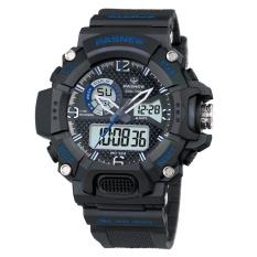 FS Pria Militer Multifungsi Digital LED Menonton Anti-Air Olahraga Alarm Jam Tangan Warna: Biru Laut Biru Gaya: Pria