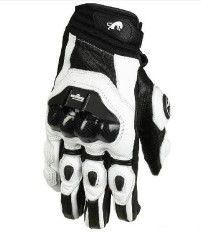 Furygan AFS6 Motorcycle Leather Riding Gloves Motorcycle Street Gloves Men(Color:Black white)(Size:XL)