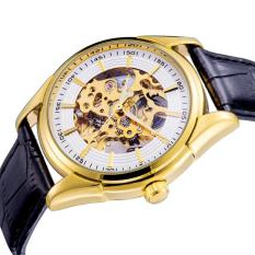 Fuskm Baru Daftar Luminous Hands Automatic Winding Watch 30 M Tahan Air Kulit Watchband Hollowed Dial (Putih)