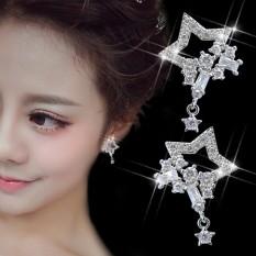 Fuyuan Shun Korea Temperamen Fashion Adalah Penuh Bintang dengan Mikro Bor Perhiasan Telinga Anting Tren All-Match Wanita Bintang Sirkon-Intl
