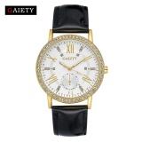 Iklan Gaiety G081 Wanita Fashion Kulit Band Analog Quartz Round Wrist Jam Tangan Hitam