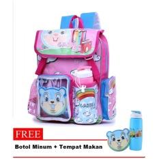 Garsel Tas Ransel Anak Sekolah - Plus Gratis Botol Minum dan LunchBox - Pink